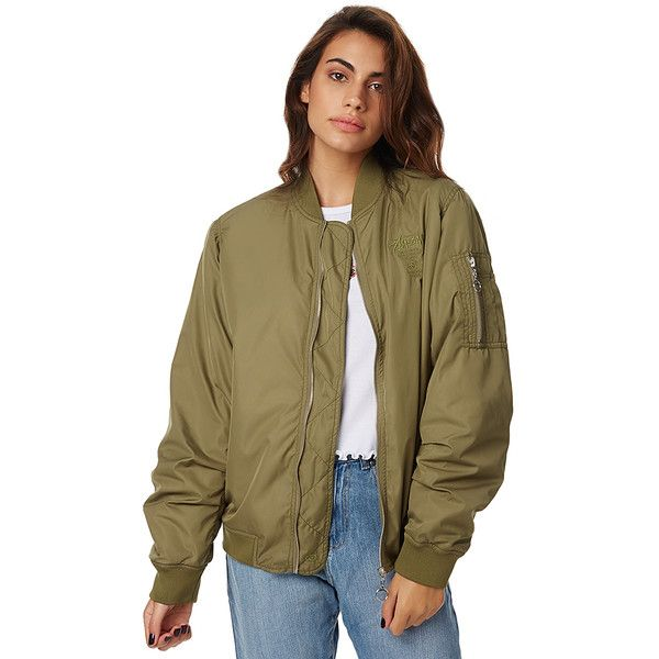 Stussy Womens Stussy Satin Bomber Green (115 NZD) ❤ liked on Polyvore featuring outerwear, jackets, green, women, zip jacket, stussy, zipper jacket, satin jackets and satin bomber jacket