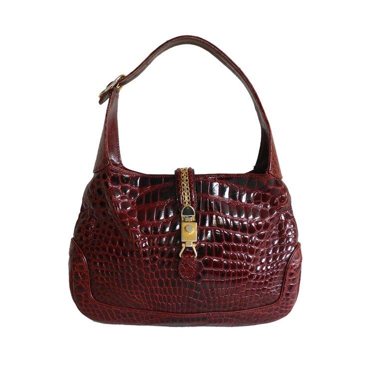 Gucci 1970s Vintage punainen Alligaattorin nahkaa. Jackie O laukku