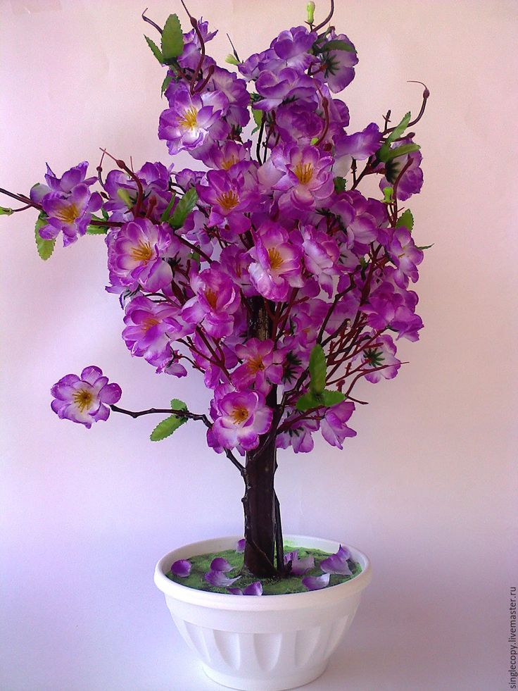 Купить Настольное цветущее дерево - сиреневый, искусственные цветы, искусственное дерево, бонсай