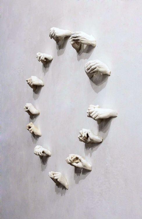 Florian Mermin (b. 1991, Longjumeau, France) - Les Heures Anxieuses (The Anxious Hours), 2011 Sculptures: Acrylic Paints on Plaster