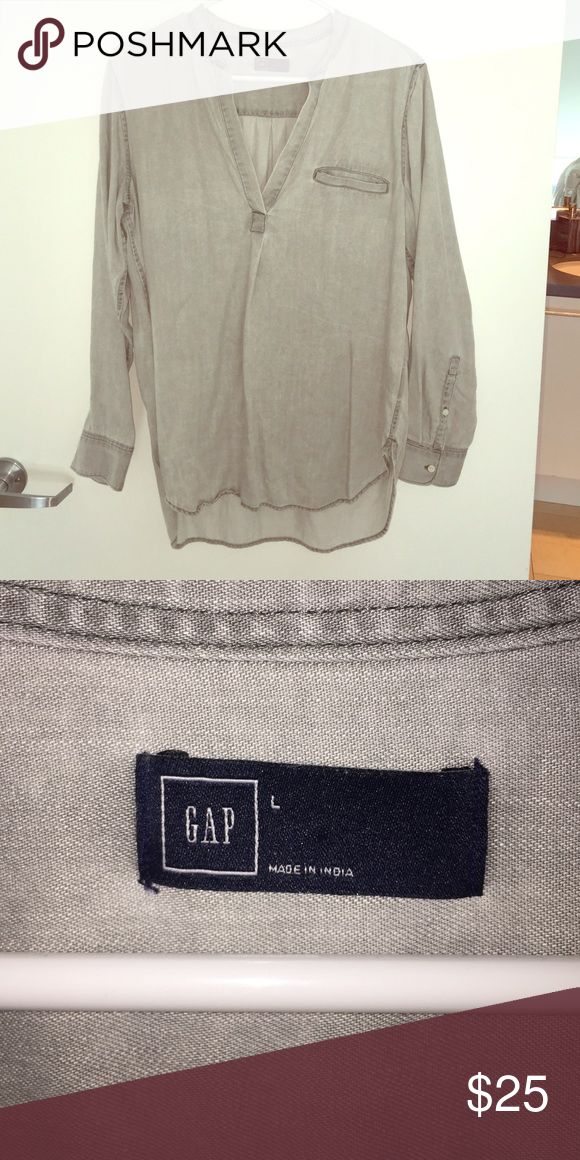 Gap grey Blouse Wore once gap grey Blouse. Cute with flares! GAP Tops Blouses