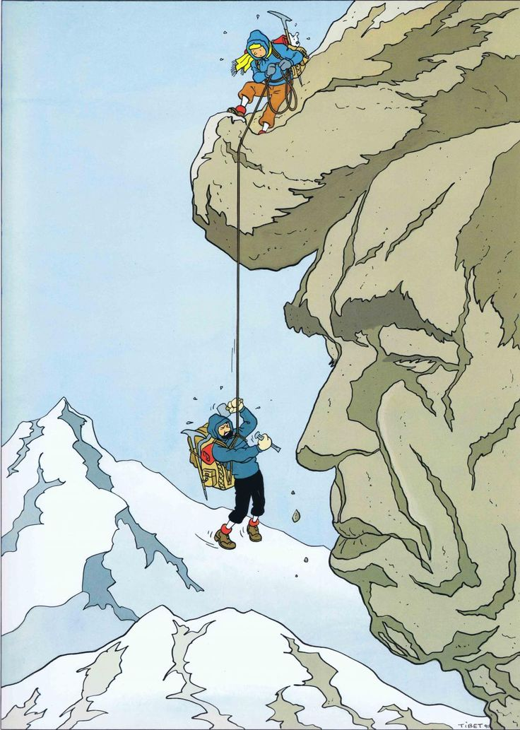 Hommage a Hergé - Face of Hergé in rock formation. Tintin in Tibet.