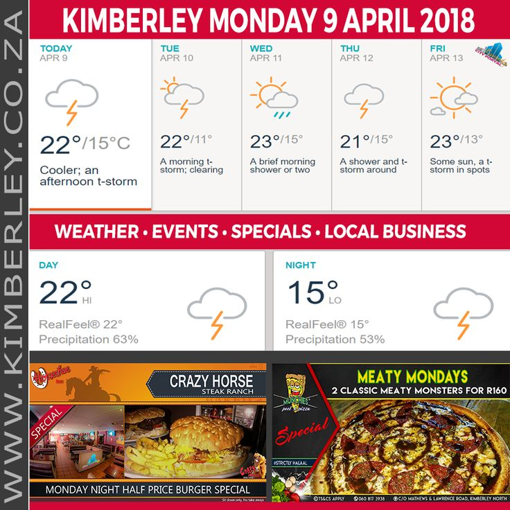 KimberleyToday, Monday 09/04/2018 - http://www.kimberley.org.za/kimberleytoday-monday-09-04-2018/?utm_source=PN&utm_medium=Pinterest+History+KImberley.org.za&utm_campaign=NxtScrpt%2Bfrom%2BKimberley+City+Info - 🗓#KimberleyToday, Monday 09/04/2018 🌦 Today: Cooler with a thick cloud cover; an afternoon shower or thunderstorm around. 🌑 Tonight: A shower or thunderstorm in the area this evening; otherwise, considerable cloudiness. 🌟