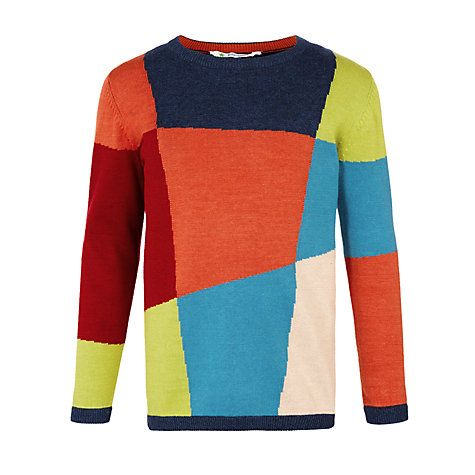 Buy John Lewis Boy Abstract Squares Jumper, Multi Online at johnlewis.com