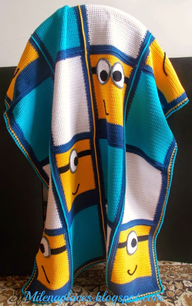 Minion Afghan Free Crochet Pattern - what a great crochet granny square blanket for grandkids!
