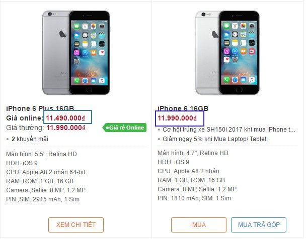 Giá iPhone 6, giá iPhone 6 plus chính hãng