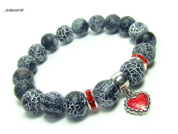 BLACK AGATE & HEART Stretch Bracelet Cracked Agate by JUBIARTE