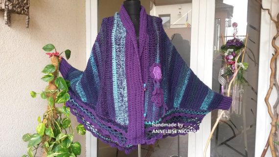 Handcrocheted Butterfly Poncho by AnnesMagicCrochet on Etsy