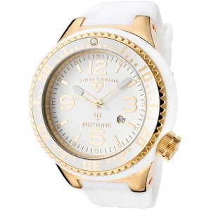 Reloj Swiss Legend Neptune SL-21818P-YG-02con esfera de acero inoxidable y pulsera de caucho color blanco. #relojes #watches