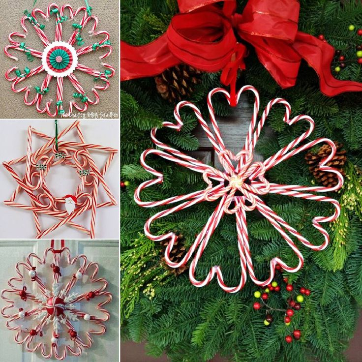 A really fun and festive candy cane wreath .It's very inexpensive and would also make a great kids Christmas craft project .  Check tutorial &video--> http://wonderfuldiy.com/wonderful-diy-christmas-candy-cane-wreath/