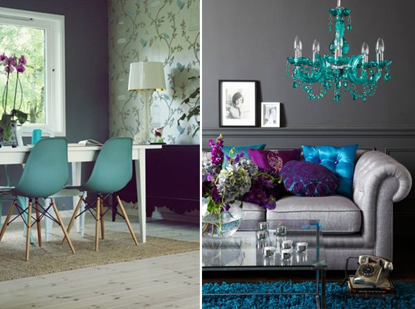 Blue aqua turquoise with purple and grey spaces living for Purple and grey living room decorating ideas