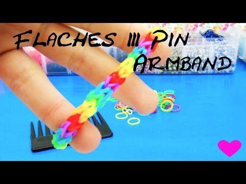 Armbänder aus Gummiringen 3Pin Fischgrät-Armband Fishtail Regenbogen Bracelet deutsche Anleitung - YouTube