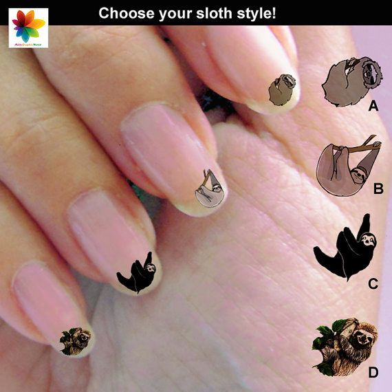 These sloth nail decals for your own sloth claws. | 37 Sloth Items To Help You Live A Sloth Life
