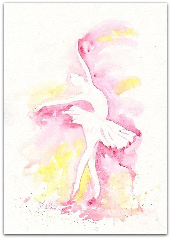 Sunny yellow and pink Ballerina Art Watercolor Print my Original Painting 8x11 Ballerina Home Decor Illustration