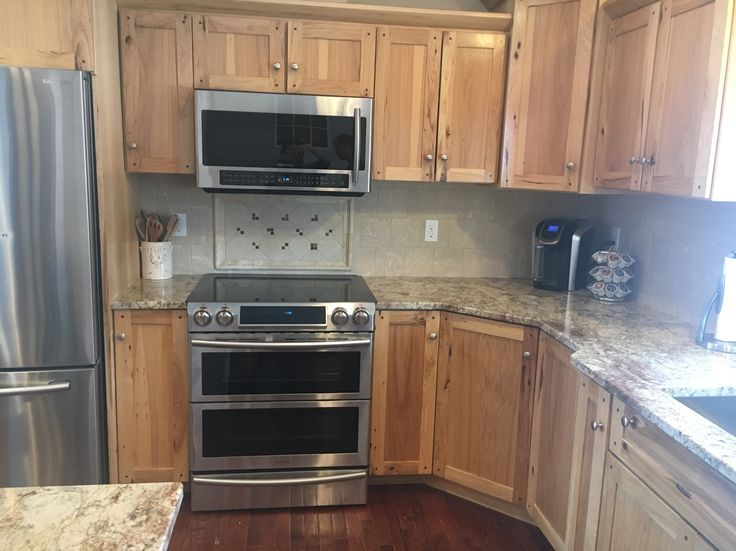 Kitchen Backsplash Hickory Cabinets custom hickory cabinets, typhoon bordeaux granite. tumbled marble
