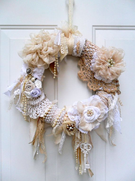 shabby wreath cottage wreath Christmas by DownSouthChicDecor