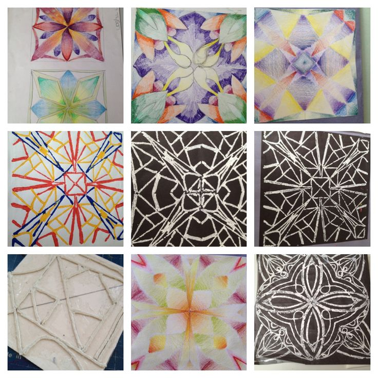 Islamic inspired string printing - Yr 8 project, string print is 1/4 original design, rotated