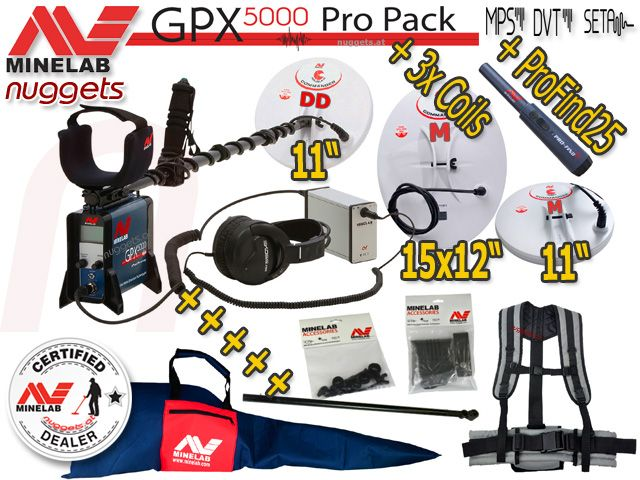 Minelab GPX 5000 best Gold Detector now including FREE 3rd coil and EXTRAS www.nuggets.at