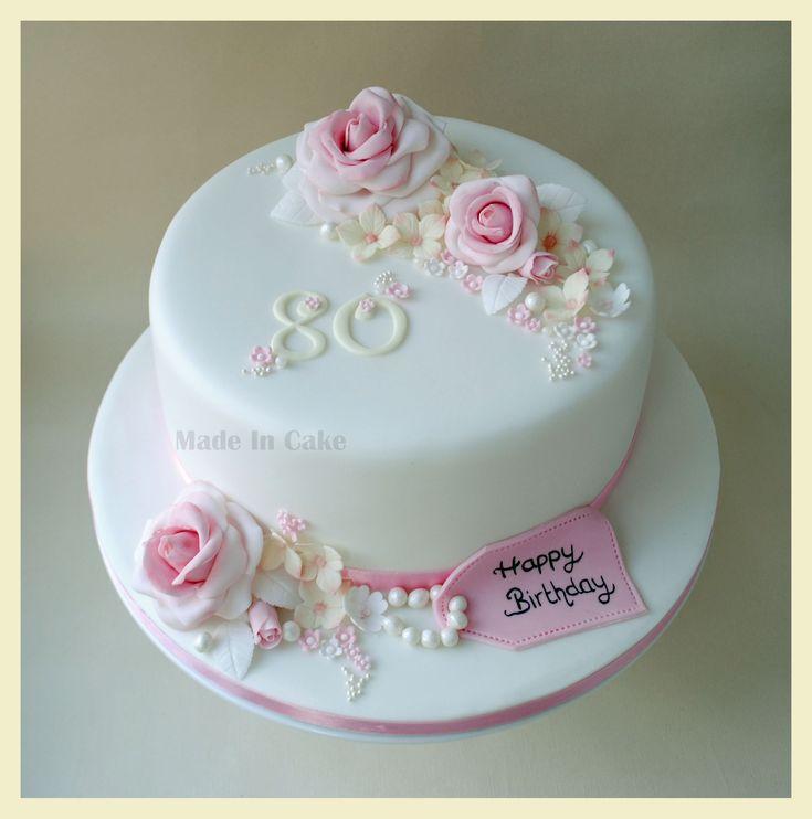 flowers 80th birthday cake