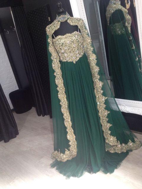Arabe Robes De Soirée Robes Caftan Marocain Cristal Musulman Robes De Soirée Avec Cape Turc Femmes Robe Robe de Noche 2016
