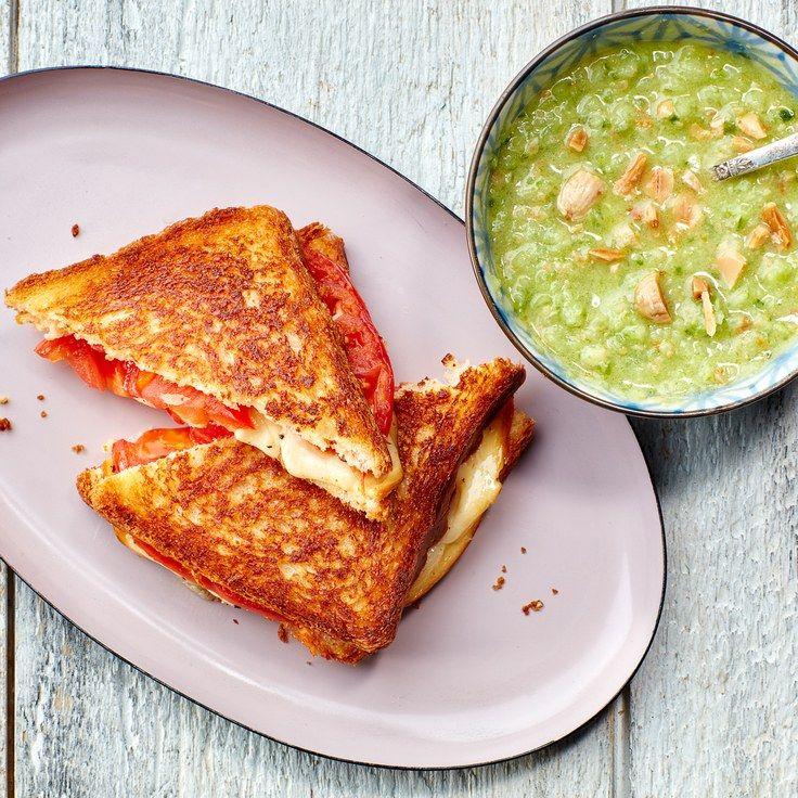 Grilled Heirloom Tomato and Mozzarella Sandwiches with Green Heirloom Tomato Gazpacho