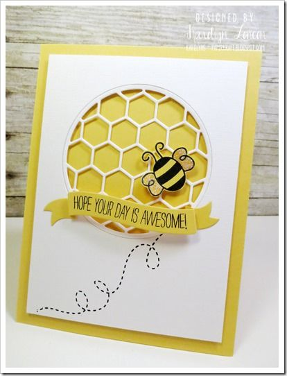 handmade greeting card ... light and bright in yellow and white ... negative space circle filled the hexagon die cut grid ... yellow main card shows through ... a bee and a sentiment banner on top ... delightful!!