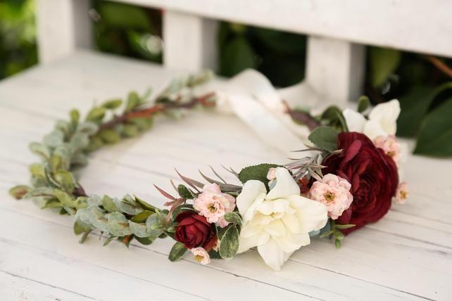 Burgunder Elfenbein erröten rosa Blumenkrone, Side Flower Stirnband, Hochzeit Blumenkrone, Braut Blumenkrone, böhmische Krone, Blume Krone Hochzeit – Boquetttt