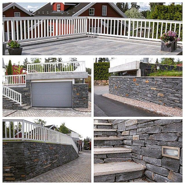 Vi må innrømme at vi er litt stolte av dette hageprosjektet! ☺️ Herregårdsstein i oppkjørsel, flott garasje med vindu langs hele veggen, trapp og mur med innebygget belysning, og prikken over i'en - skiferbelagt solterrasse på garasjetaket!☀️ #bygartnerne #anleggsgartner #oslo #hagersomvarerlenger #utemiljø #uterom #hage #hageglede #hageliv #hagearbeid #trapp #mur #garasje #terrasse #skifer #brostein #belegningsstein #sommer