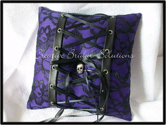 Gothic Wedding Purple and Black Lace-Up Skull Halloween Gothic Wedding Ring Bearer Pillow