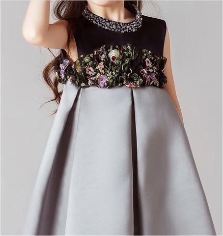Girly Shop's Black & Silver Beautiful & Elegant Floral Applique High Waist Little Girl Party Dress