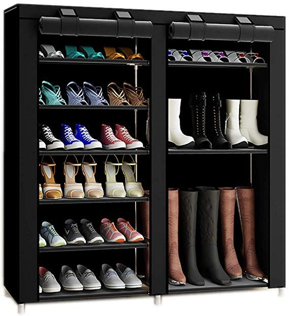 Txt Baz 27 Pairs Portable Boot Rack Double Row Shoe Rack Covered With Nonwoven Fabric 7 Tiers Black Shkaf Dlya Obuvi Nebolshie Garderobnye Obuvnoj Shkaf