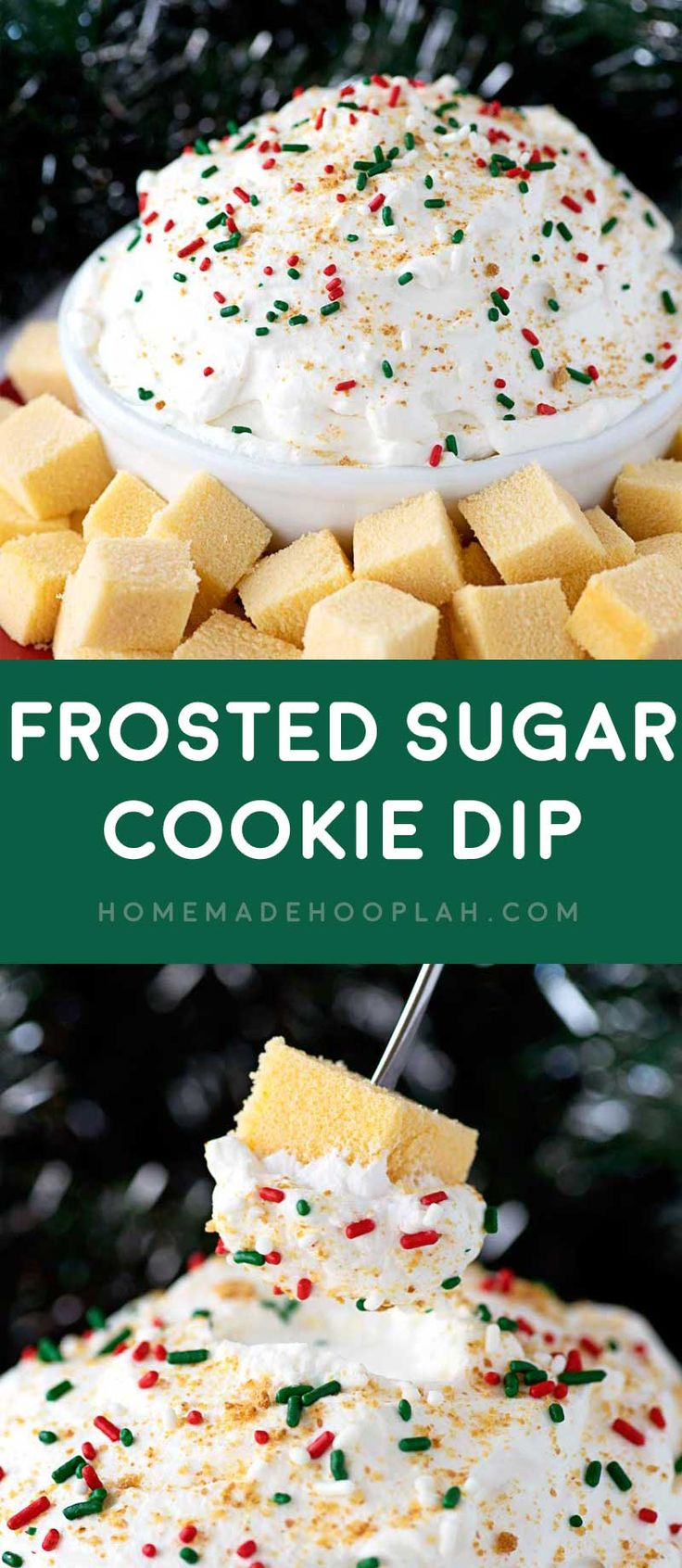 Frosted Sugar Cookie Dip! A fluffy dip made with International Delight Frosted Sugar Cookie Creamer and served fondue style with cubes of spongy pound cake.   HomemadeHooplah.com