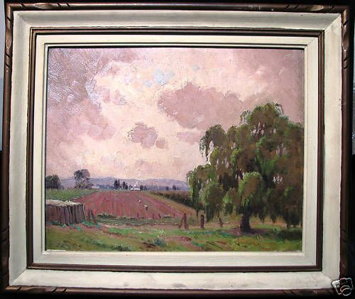 Sir Erik Langker original oil titled  Willow Trees and Fields  Australia s South