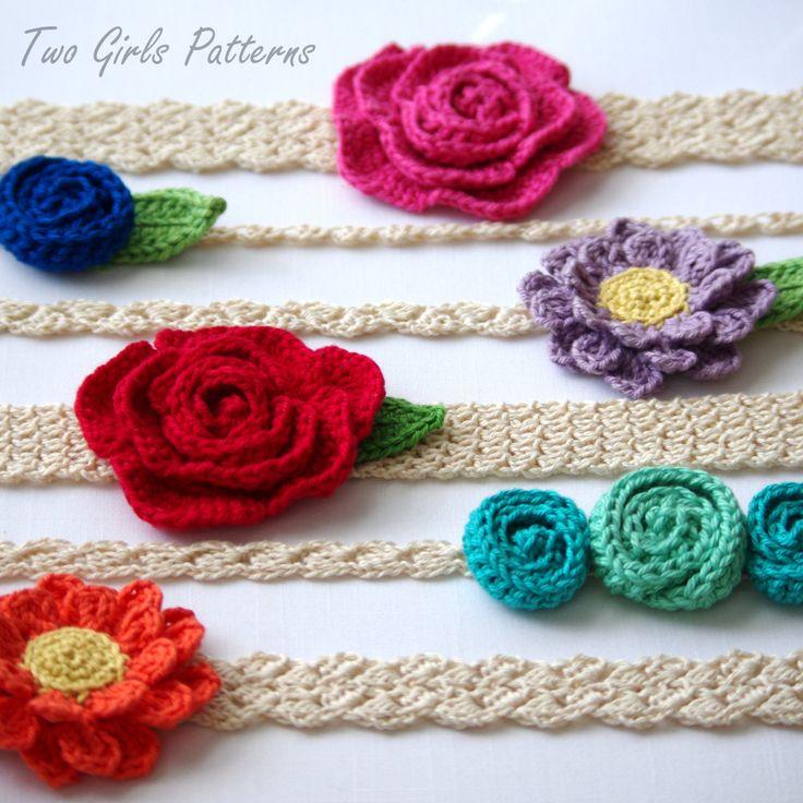 Crochet headband patterns  6 headbands and 3 by TwoGirlsPatterns, $5.50