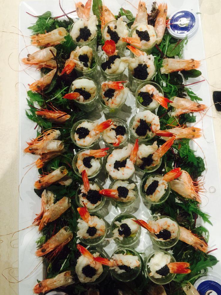 Tiger prawns with Beluga Caviar
