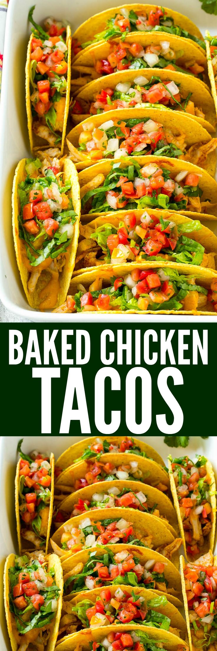 hese baked chicken tacos are loaded with seasoned chicken, cheese and salsa. The perfect easy dinner for a busy day!