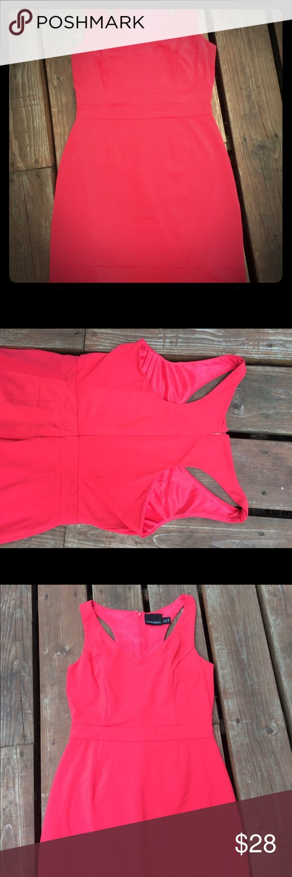 Cynthia Rowley midi length dress Midi length body hugging dress with stretch. Slight t back. Lined. Color in first photo accurate (bright coral). Worn once. Cynthia Rowley Dresses Midi