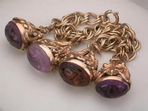 Antique Vintage 12K Rose Gold Filled Carved Amethyst Scarab Charm Fob Bracelet | eBay
