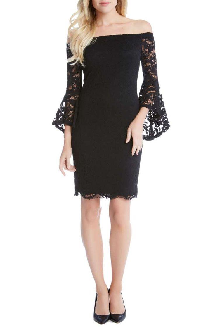 Karen Kane Samantha Lace Off the Shoulder Sheath Dress Black // fall wedding guests