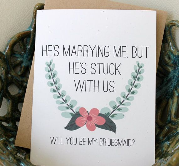 Will you Be My Brides Maid Card Bridesmaid Funny by PattersonPaper