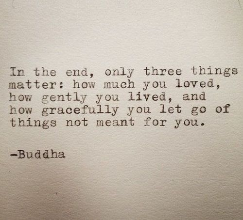 In the end, only three things matter: how much you loved, how gently you lived and how gracefully you let go of things not meant for you