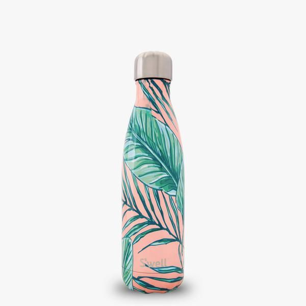 Amazing reusable swell water bottle decorated in palm beach pink and leaf design.