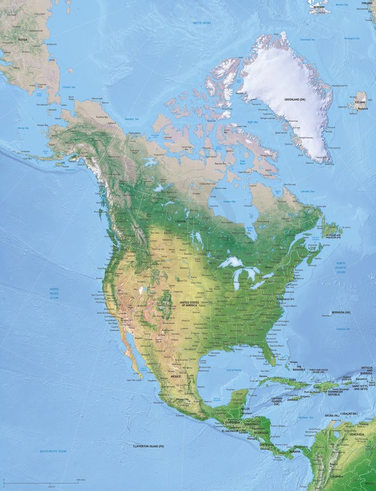 Map of North America continent political high