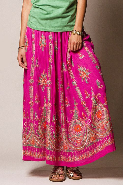 Super soft and light indian cotton maxi skirt, perfect for hot summer days! http://festivalfirefashion.com