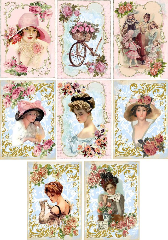 Vintage inspired pink ladies hats note cards tags ATC altered art set of 8