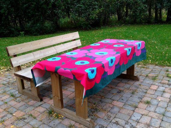 Modern tablecloth made from Marimekko fabric Unikko, Scandinavian design, rectangle pink floral retro table cloth, mid century modern