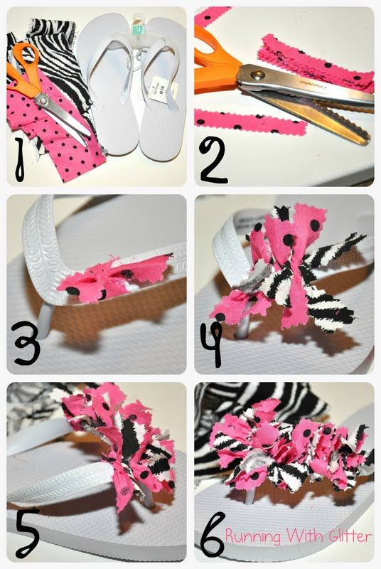 DIY Scrappy Flip Flops  - crafts for the kiddos to make at SHOE PARTY