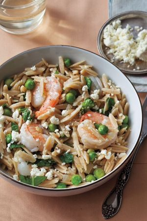 Orzo with Shrimp, Peas, Herbs and Feta