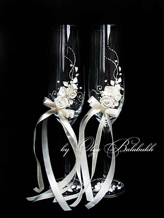 Ivory champagne wedding glasses with a beautiful by ArtsLux, $48.00