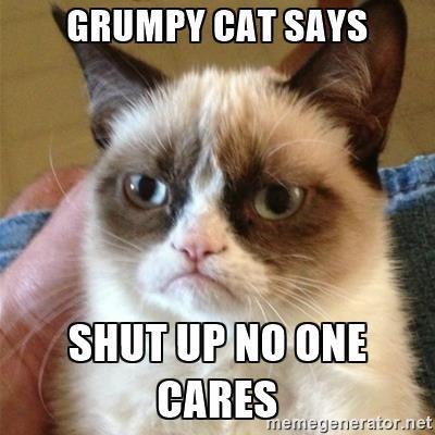 Grumpy cat says Shut up no one cares - Grumpy Cat